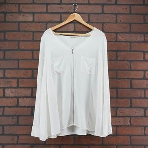 SOFT SURROUNDINGS White Zipper Front Tunic Size 3X